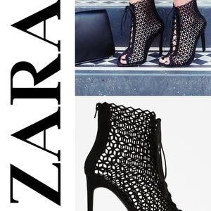 Zara Laser Cut-Out Strappy Heels 7.5